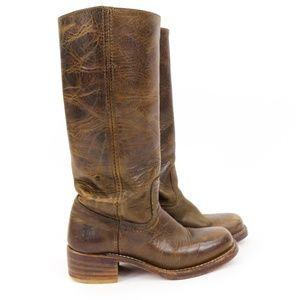 "Frye Campus Brown Leather Boots 2"" Heels 77050"